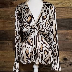 Cache Animal Print Twist-Front Silk Top